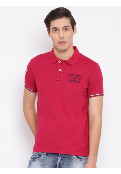 Pink Polo Neck T-Shirt